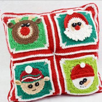 Karácsonyi nagyinégyzet minták: Mikulás, hóember, manó, rénszarvas