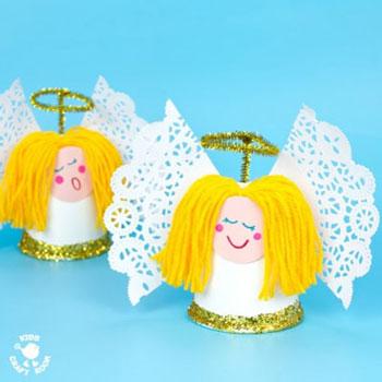Papír pohár angyalka - kreatív karácsonyi ötlet gyerekeknek