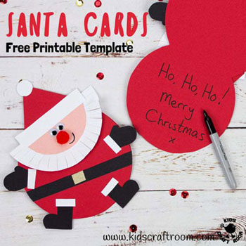 DIY Round Santa Christmas card ( handmade greeting card )