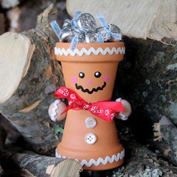 Agyagcserép mézeskalács figura - karácsonyi ajándék virágcserépből