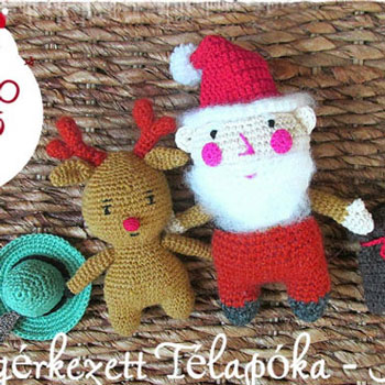 Amigurumi Télapóka és Rudolf (ingyenes magyar horgolásminta)