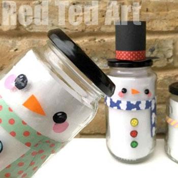 Hóember ajándékdoboz befőttesüvegből - karácsonyi ajándék