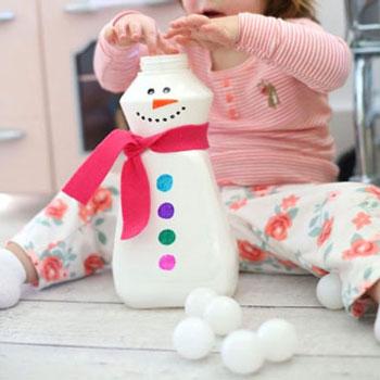 Hóember készségfejlesztő játék gyerekeknek műanyag flakonból