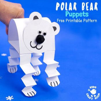 DIY paper puppet polar bear - fun winter craft for kids
