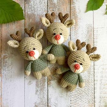 Kicsi amigurumi rénszarvas - Rudolf (ingyenes horgolásminta)