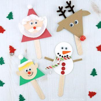 Karácsonyi bábok jégkrémpálcikából (mikulás, rénszarvas, hóember és manó)