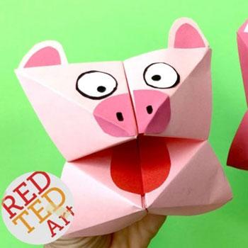 Origami sótartó malac - kreatív ötlet gyerekeknek szilveszterre