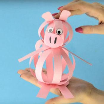 Egyszerű papír csík gömb malac - szilveszteri ötlet gyerekeknek