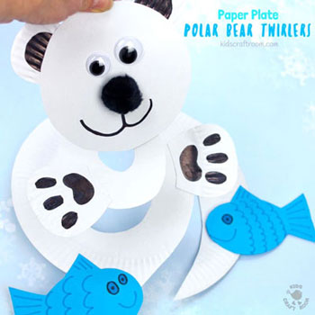 Adorable paper polar bear twirler - winter craft for kids