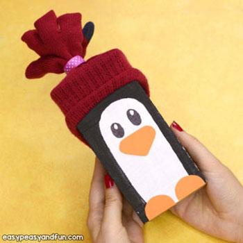 Ha hasáb pingvin - kreatív téli ötlet gyerekeknek fából
