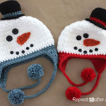 Crochet snowman hats (with crochet pattern)