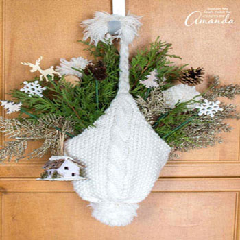 DIY Knitted hat door hanging - winter decoration