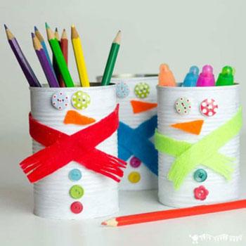 Hóember ceruzatartó konzervdobozból - kreatív téli ötlet gyerekeknek