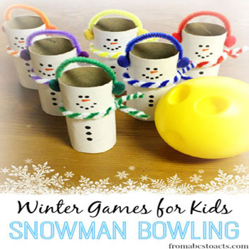 DIY Toilet paper tube snowman bowling - fun winter game for kids