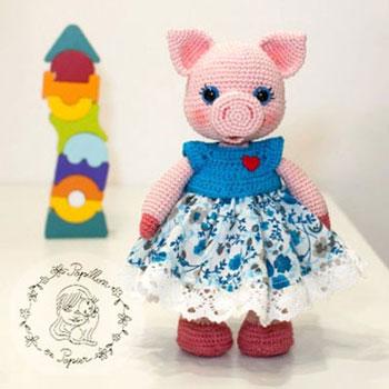 Miss Piggy - Amigurumi malac kislány (Ingyenes horgolásminta)