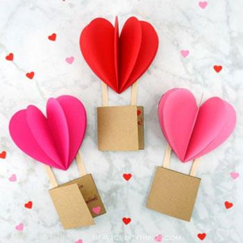 Térbeli szívecske hőlégballon képeslap - kreatív Valentin napi képeslap egyszerűen