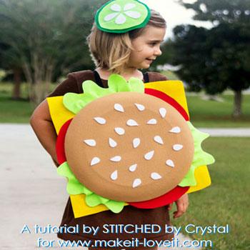 Egyszerű hamburger jelmez varrás nélkül