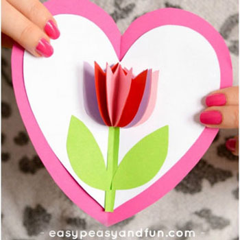 Térbeli papír tulipános szívecske képeslap - kreatív ötlet gyerekeknek