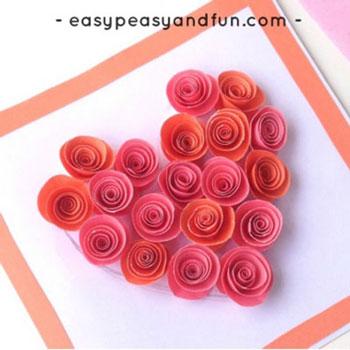 Egyszerű papír rózsás szívecske képeslap - kreatív ötlet gyerekeknek