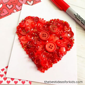 DIY Valentine's day button heart card