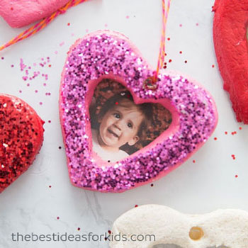 DIY Valentine's salt dough heart ornament