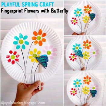 Tavaszi pillangós papír bábjáték egyszerűen papírtányérból