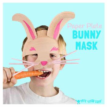 Nyuszi álarc papírtányérból egyszerűen - húsvéti ötlet gyerekeknek