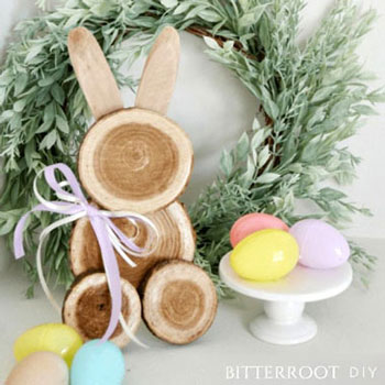 Egyszerű farönk szelet nyuszi - kreatív húsvéti dekoráció