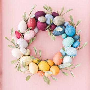Hungarocell tojás koszorú krepp papírral bevonva - húsvéti koszorú