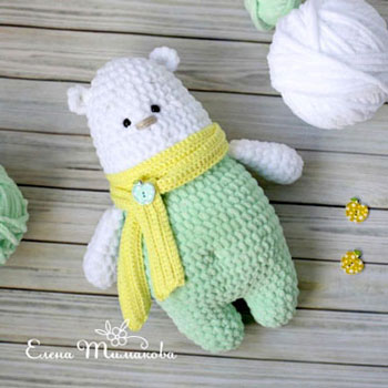 Little soft amigurumi polar bear (free crochet pattern)