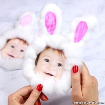 Fényképes vatta nyuszi képeslap - húsvéti ötlet gyerekeknek