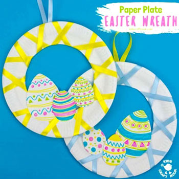 Húsvéti  tojás koszorú papírtányérból - húsvéti dekoráció egyszerűen