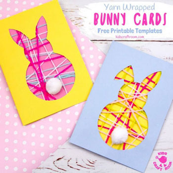 DIY Yarn bunny Easter card - fun Easter craft for kids
