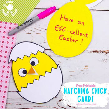 DIY Hatching chick card - Easter card craft for kids