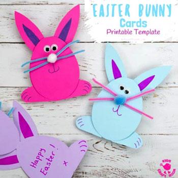 Egyszerű nyuszi képeslap papírból - húsvéti képeslap ötlet gyerekeknek