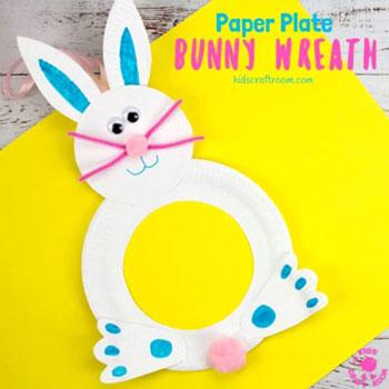 Papírtányér nyuszi koszorú - egyszerű húsvéti koszorú papírból