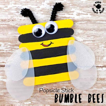 DIY Popsicle stick bee - fun spring craft for kids