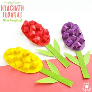 Egyszerű anyák napi képeslap papír jácintokkal - kreatív ötlet gyerekeknek