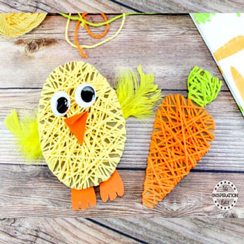 Fonallal körbetekert csibe és répa - kreatív ötlet gyerekeknek húsvétra