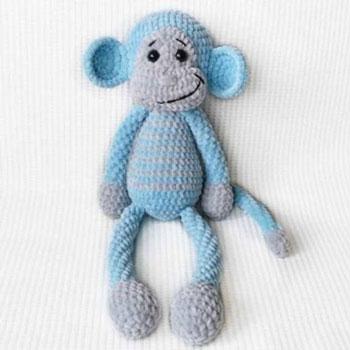 Puha, kék plüss amigurumi majom (ingyenes horgolásminta)