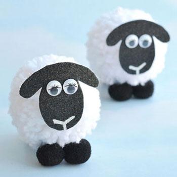 Pompon bárány - kreatív ötlet gyerekeknek fonalból