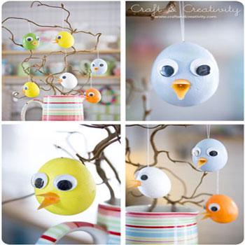 Húsvéti tojás csibék - egyszerű húsvéti dekoráció hungarocell tojásból