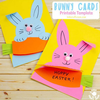 DIY Carrot nibbling Easter bunny card - adorable Easter card idea