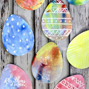 Magical watercolor Easter egg - fun Easter craft for kids