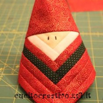 Patchwork Santa christmas tree ornament