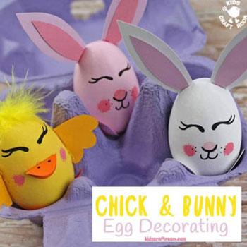 Húsvéti tojás nyuszi és csibe - kreatív tojásfestés ötlet gyerekeknek