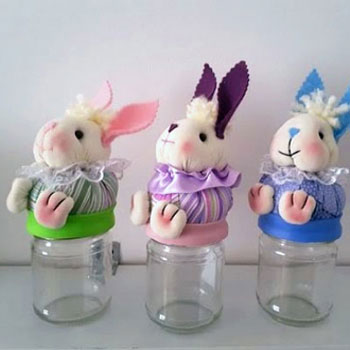 DIY Fabric mason jar bunny - Easter gift idea