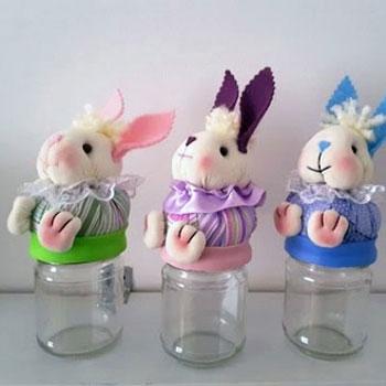 Textil nyuszis befőttes üveg - kreatív húsvéti ajándék