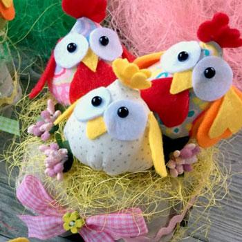 Egyszerű textil és filc pipik - kreatív húsvéti dekoráció