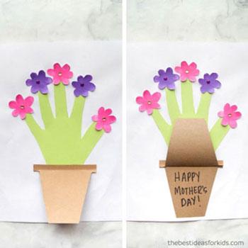 Kézkörvonal virágos képeslap egyszerűen ( anyák napi képeslap )
